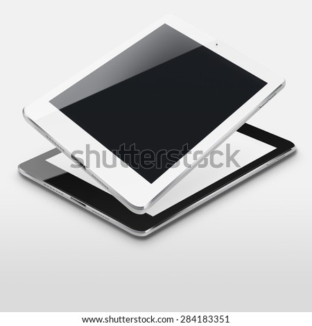 Tablet computers ipad style mockup with blank and black screens on gray background. Highly detailed illustration. - stock photo