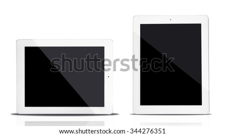 Tablet computers isolated on white - stock photo