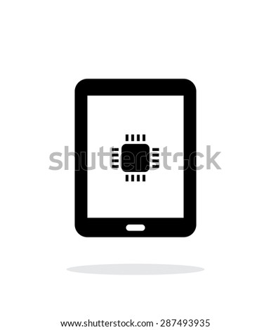 Tablet CPU simple icon on white background. - stock photo
