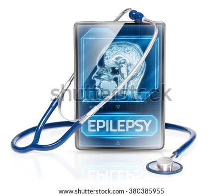 Tablet displaying diagnosis of epilepsy - stock photo