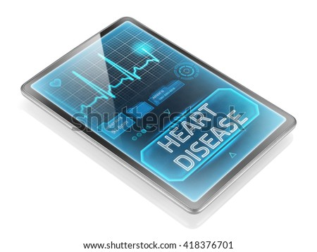 Tablet displaying heart disease diagnosis - stock photo