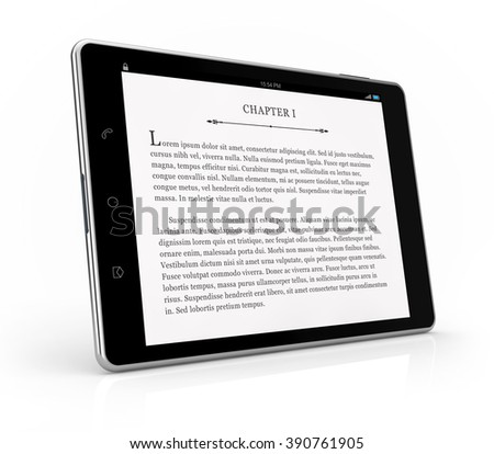 tablet ebook reader isolated white background with clipping path - stock photo