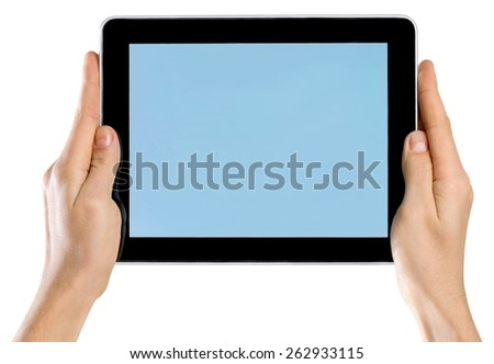 Tablet, hand, phone.