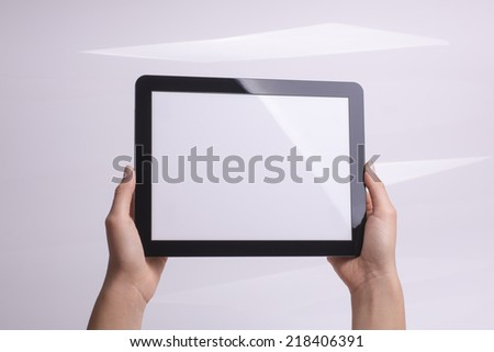 tablet holding in hands - stock photo