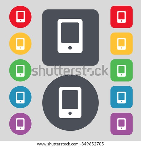 Tablet icon sign. A set of 12 colored buttons. Flat design. illustration - stock photo