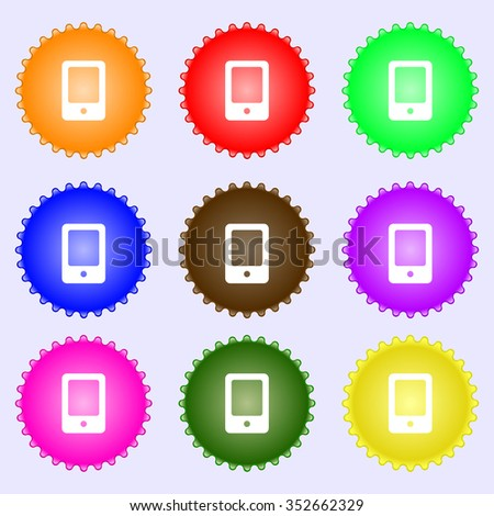 Tablet icon sign. A set of nine different colored labels. illustration - stock photo