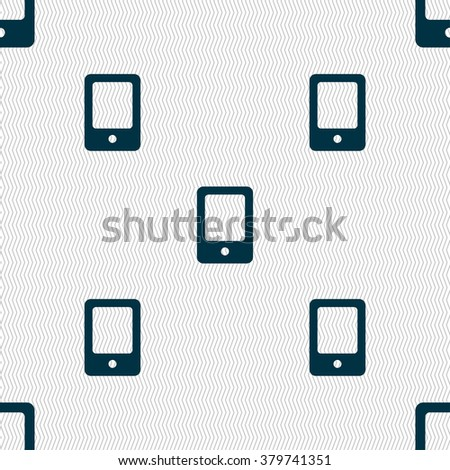 Tablet icon sign. Seamless pattern with geometric texture. illustration - stock photo