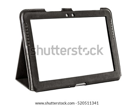 tablet in a leather case isolated on white background