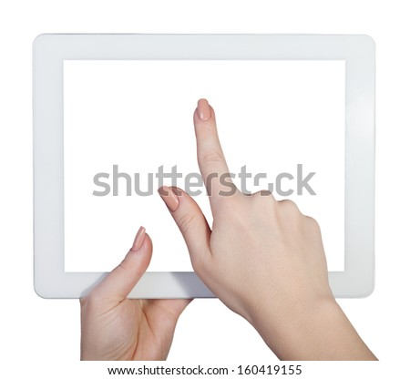 tablet in female hands on an isolated white background - stock photo