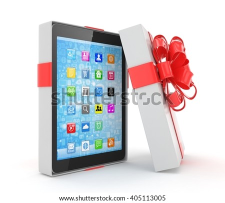 Tablet in gift box. 3D rendering. - stock photo