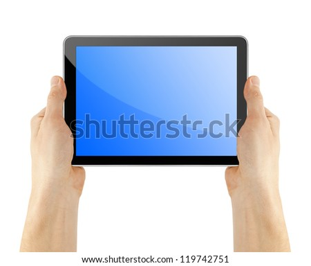 tablet in hand for advertisement - stock photo