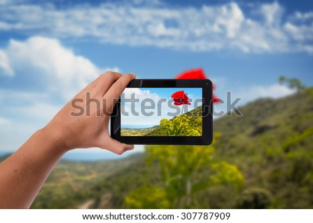 Tablet in hand photo shooting red flower - these are all photos made by me, that you separately can find on my shutterstock portfolio. - stock photo