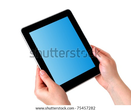 tablet in hands - stock photo