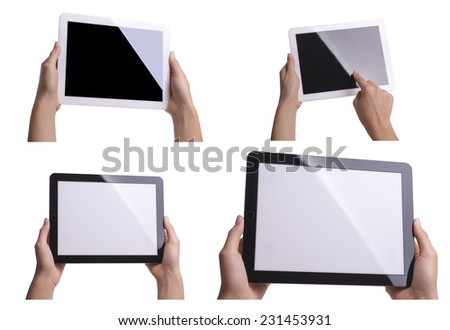 Tablet in hands isolated - stock photo