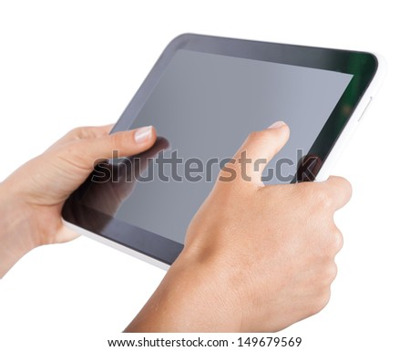 tablet in hands on an isolated white background - stock photo