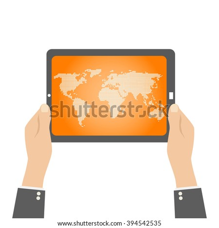 tablet in hands. world map in dots