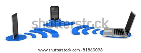 tablet, laptop and smartphone connected via wireless (3d render) - stock photo