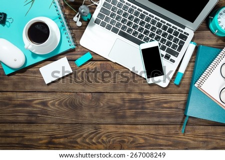 Tablet, laptop, desk. - stock photo