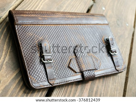 Tablet leather case - stock photo