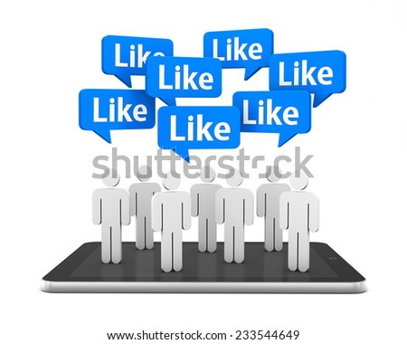 tablet man and like 3d render ,social media - stock photo