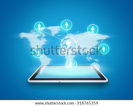 Tablet on abstract blue background with people symbols and world map