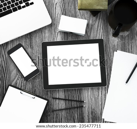Tablet on table - stock photo