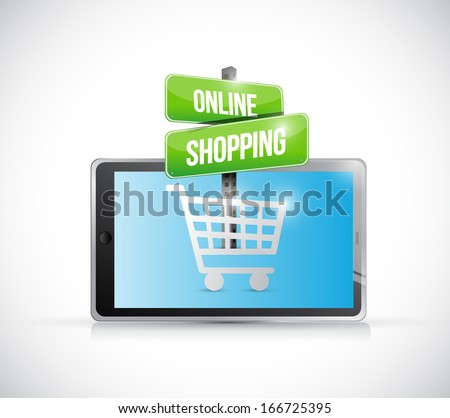 tablet online shopping sign illustration over a white background