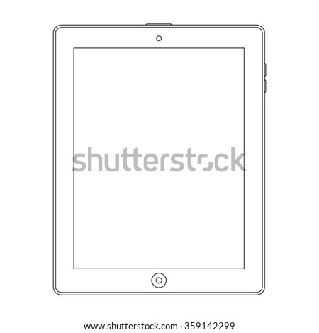 tablet outline icon on the white background. stock illustration