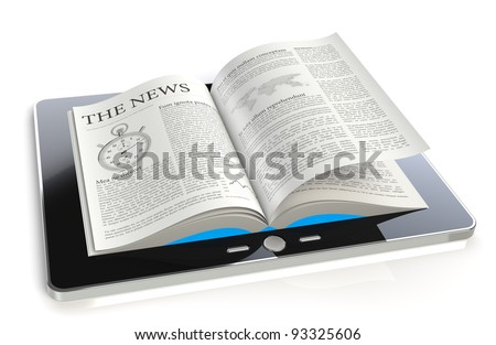 Tablet Pad News. A tablet pad computer with a The News. - stock photo