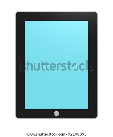 Tablet pad. Tablet pad with Blue backlit Screen. Isolated