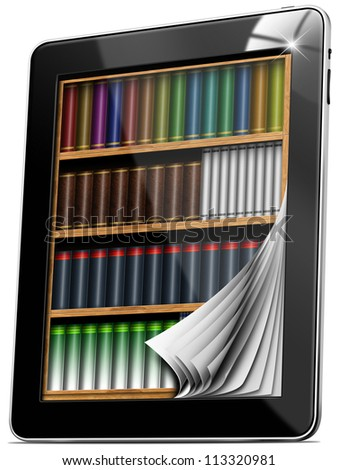 Tablet Pages Bookcase / Black tablet computer with bookcase and pages on white background - stock photo