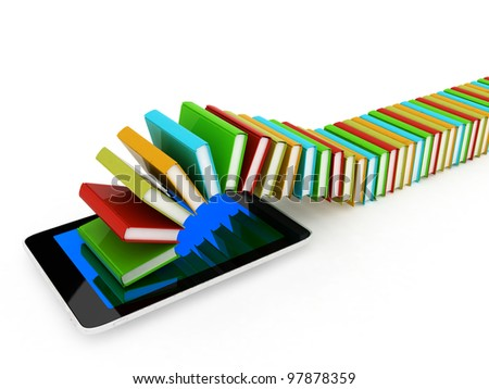 tablet pc and colorful real books and on white background - stock photo