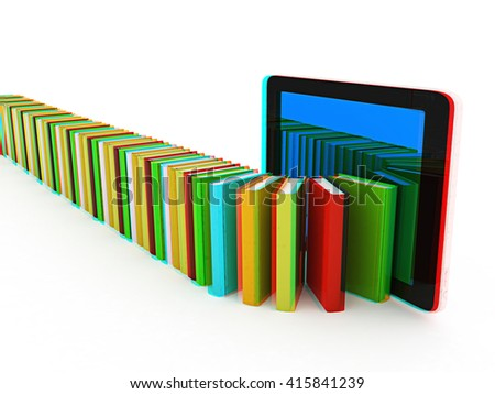 tablet pc and colorful real books on white background. 3D illustration. Anaglyph. View with red/cyan glasses to see in 3D. - stock photo
