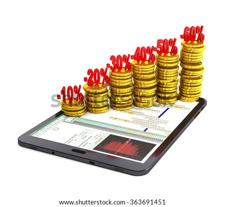 Tablet pc and columns of gold coins on white background. - stock photo