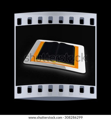 tablet pc and opened book on black background. The film strip - stock photo