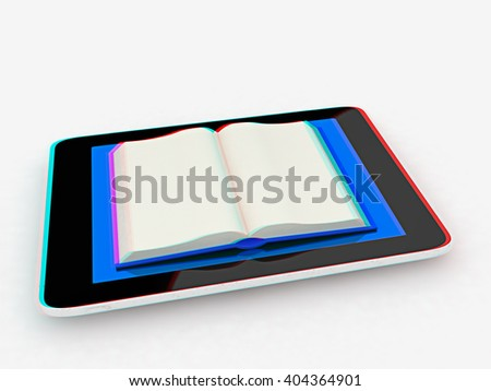 tablet pc and opened book on white background. 3D illustration. Anaglyph. View with red/cyan glasses to see in 3D. - stock photo