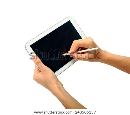 tablet pc and pen isolated on white background  - stock photo