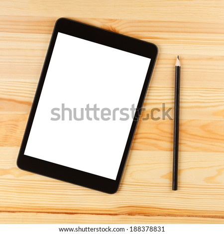 Tablet PC and Pencil on Table, Top View