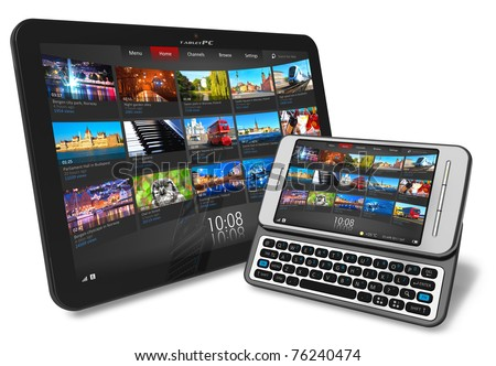 Tablet PC and side slider touchscreen smartphone - stock photo