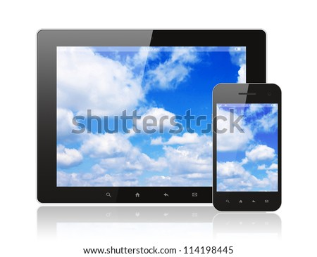 Tablet pc and smart phone with blue sky on white background - stock photo