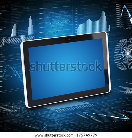 Tablet PC and the graphics in the background. Computer technology concept - stock photo