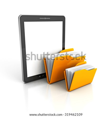 Tablet PC and Yellow Ofice Folders. 3d Render Illustration