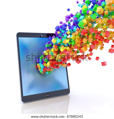 Tablet PC application stream - stock photo