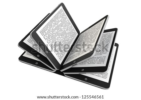 Tablet PC as Book pages on a white background - stock photo