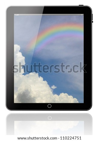 tablet pc computer modern technology touch for the future background black model with blue sky sunny sun background rainbow on white background for design - stock photo