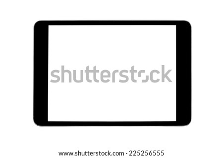 Tablet pc computer with blank screen isolated on white - stock photo