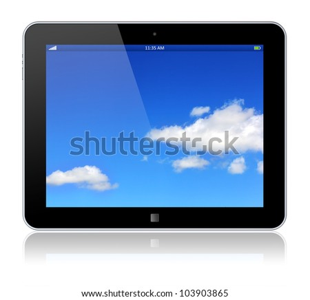Tablet PC computer with blue sky background on the touchscreen. 3d image