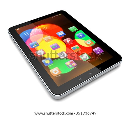 Tablet PC computer with colorful bokeh wallpaper and apps on a screen