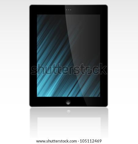 Tablet PC display with abstract background.Raster version