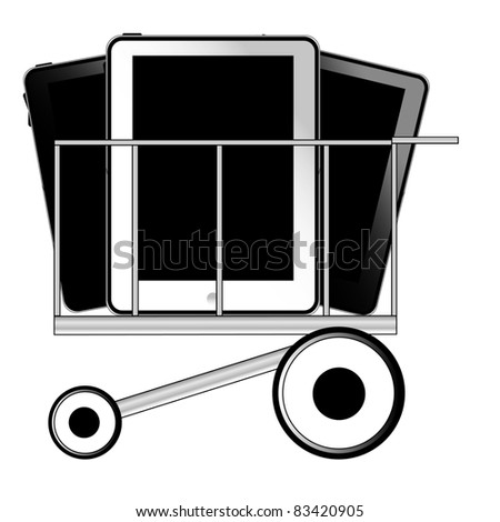 Tablet pc in shop cart - stock photo